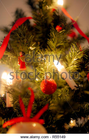 Christmas tree and hygge time - Stock Image
