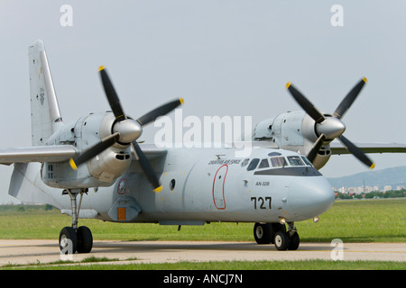 Croatian Air Force An-32B '727'taxiing after landing - Stock Image