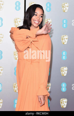 London, UK. 10th Feb, 2019. LONDON, UK. February 10, 2019: Laura Harrier arriving for the BAFTA Film Awards 2019 at the Royal Albert Hall, London. Picture: Steve Vas/Featureflash Credit: Paul Smith/Alamy Live News - Stock Image