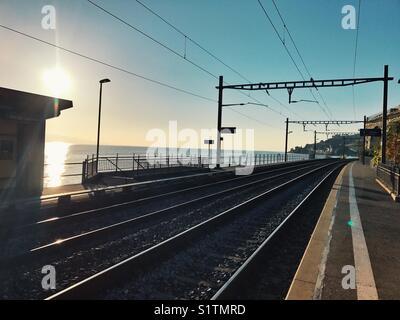 Railway track in Switzerland - Stock Image