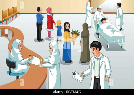 A vector illustration of Muslim Hospital Scene - Stock Image