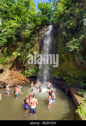 Waterfall at the Botanical Gardens, Soufriere, Saint Lucia. - Stock Image