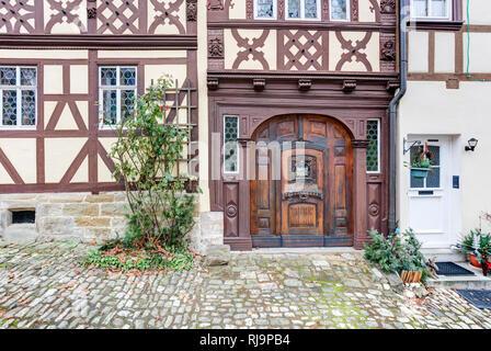 Haustür, Hausfassade, Regiomontanushaus, Königsberg, Hassberge, Franken, Bayern, Deutschland, Europa - Stock Image