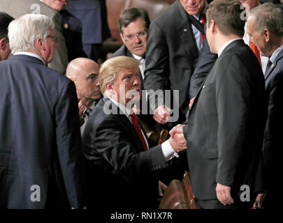 Washington, District of Columbia, USA. 5th Feb, 2019. United States President Donald J. Trump shakes hands with Members of Congress as he departs after delivering his second annual State of the Union Address to a joint session of the US Congress in the US Capitol in Washington, DC on Tuesday, February 5, 2019 Credit: Alex Edelman/CNP/ZUMA Wire/Alamy Live News - Stock Image