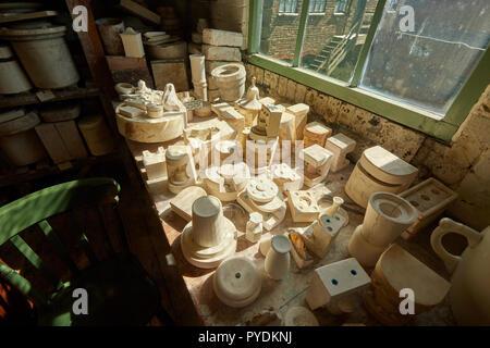 Moulds at Gladstone Pottery Museum Longton Stoke on Trent Staffordshire England UK - Stock Image