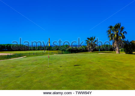 Los Moriscos Golf Club (with the snow capped Sierra Nevada Mountains in background), Motril, Costa Tropical, Granada Province, Andalusia, Spain. - Stock Image