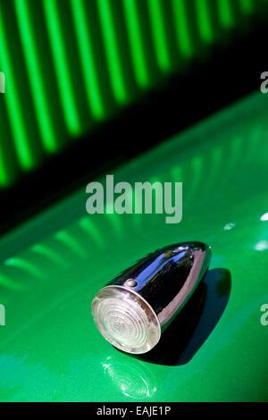 Closeup on turn signal of old shiny retro car - Stock Image
