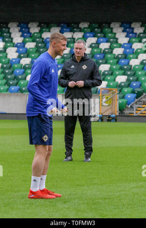 Windsor Park, Belfast, Northern Ireland.20 March 2019.Northern Ireland training in Belfast this morning ahead of their UEFA EURO 2020 Qualifier against Estonia tomorrow night in the stadium. Daniel Ballard training. Credit: David Hunter/Alamy Live News. - Stock Image