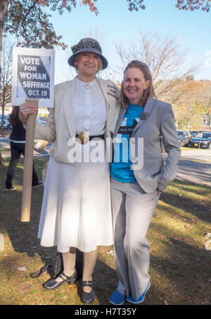 Chappaqua, NY, USA - 8 November 2016. Mary Refling of Chappaqua New York dressed as a suffragette in support of - Stock Image