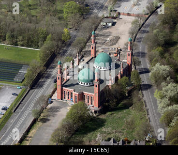 aerial view of Al-Jamia Suffa-Tul-Islam Grand Mosque; Bradford Grand Mosque, Bradford, West Yorkshire - Stock Image