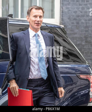 London 10th July 2018, , Jeremy Hunt, new Foreign Secretary arrives at Cabinet meeting at 10 Downing Street, London Credit Ian Davidson/Alamy Live News - Stock Image