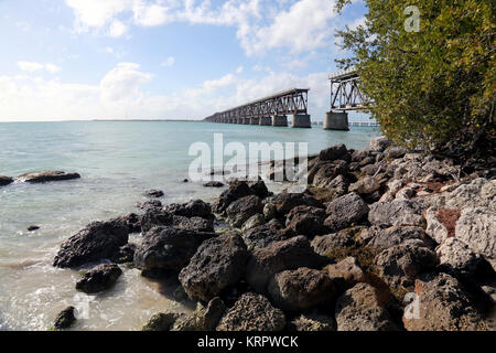 Old Bahia Honda Railroad Bridge, Bahia Honda Key, FL, USA - Stock Image