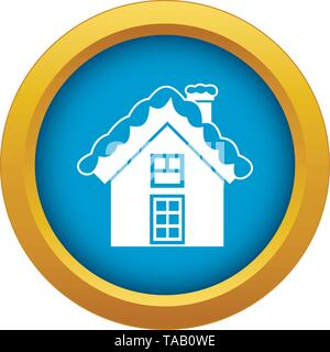 Small snowy cottage icon blue vector isolated - Stock Image