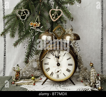 Christmas and New Year still life in vintage style - Stock Image