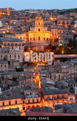 View over Modica & San Giorgio cathedral (Baroque style), Sicily, Italy - Stock Image