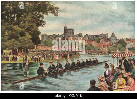 1879 Procession of boats at Eton - Stock Image