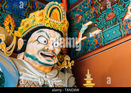 Yongjusa temple Four heavenly guardians of Buddhism in Hwaseong, Korea - Stock Image