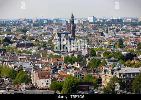 Amsterdam, Netherlands, view over the old town, Westerkerk, - Stock Image
