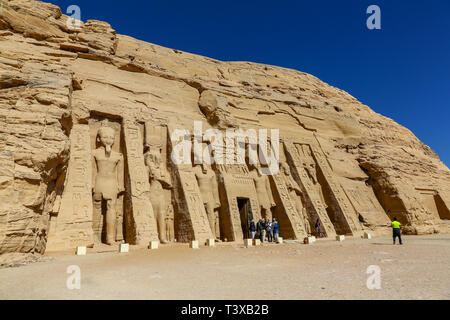 The temple of Hathor and Nefertari, also known as the Small Temple, at Abu Simbel, Southern Egypt, North Africa - Stock Image