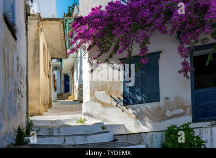 Stepped Street in Skopelos Town, Northern Sporades Greece. - Stock Image