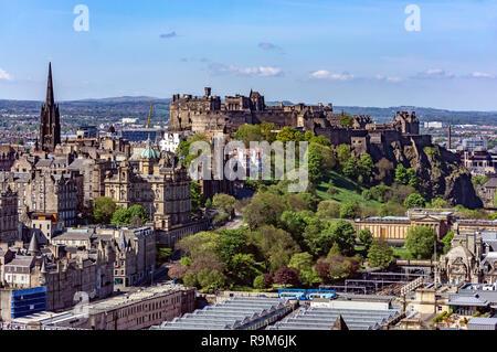 View over Edinburgh towards Edinburgh Castle from Calton Hill at the east end of Princes Street in Edinburgh Scotland UK - Stock Image