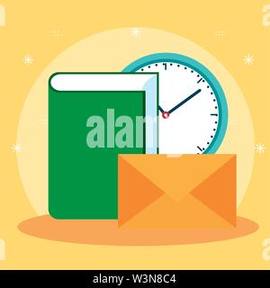 office book with clock and letter message - Stock Image