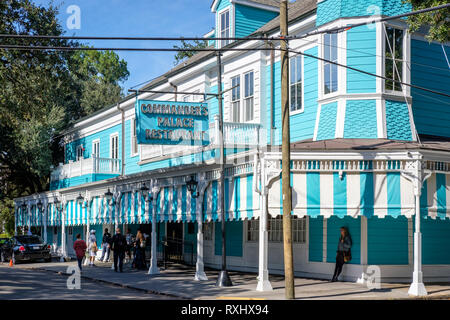 Street view of Commander's Palace Restaurant building, famous Creole cuisine restaurant, New Orleans Garden District, New Orleans, Louisiana, LA, USA. - Stock Image