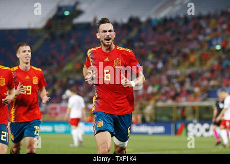 the Stadio Renato Dall'Ara, Bologna, Italy. 22nd June, 2019. Fabian Ruiz (ESP), JUNE 22, 2019 - Football/Soccer : Fabian Ruiz celebrate after his goal during UEFA European Under-21 Championship 2019 Group stage match between Under-21 Spain 5-0 Under-21 Poland at the Stadio Renato Dall'Ara, Bologna, Italy. Credit: Mutsu Kawamori/AFLO/Alamy Live News - Stock Image