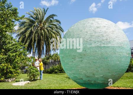 Miami Beach Miami Florida Beach Botanical Garden gardening plants horticulture art sculpture glass sphere Henry Richardson artis - Stock Image