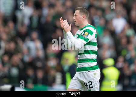 Hampden Park, Glasgow, UK. 14th Apr, 2019. Scottish Cup football, semi final, Aberdeen versus Celtic; Callum McGregor of Celtic applauds the fans at the end of the match Credit: Action Plus Sports/Alamy Live News - Stock Image