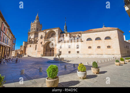 square of cathedral in Burgo de Osma medieval, landmark and monument from thirteenth century, in Soria, Spain, Europe - Stock Image