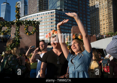 Part of the crowd at the Swedish Midsummer Festival, held annually in Battery Park City's Wagner Park. June 21, 2019 - Stock Image