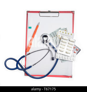 Red clipboard with stethoscope, pen, dollar, money and drag pills. Healthcare concept - Stock Image