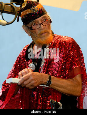 Saxoponist and conductor Marshall Allen leads the improv Jazz troupe Sun Ra Arkestra during a rare hometown appearance at the Summer Concert Series in - Stock Image