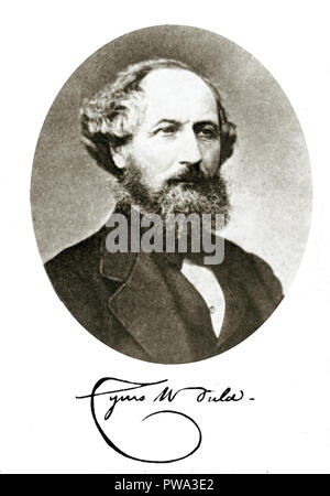 Cyrus Field, photographic portrait of the American businessman and entrepreneur who was instrumental in laying the first Atlantic telegraph cable between the UK and the USA in 1858 and then again in 1866 - Stock Image