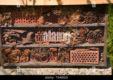 big insect house or bug hotel lit by the early spring sun, freshly created insect hotel made of different material - Stock Image