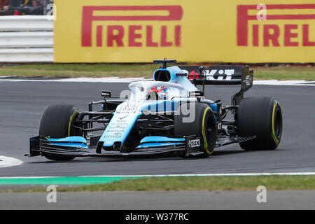 Silverstone Circuit. Northampton, UK. 13th July, 2019. FIA Formula 1 Grand Prix of Britain, Qualification Day; George Russell driving his ROKiT Williams Racing FW42 was fastest early on in the 3rd practice session Credit: Action Plus Sports/Alamy Live News - Stock Image