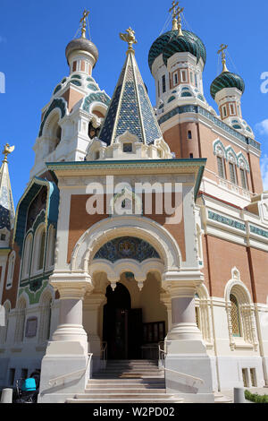 The Beautiful Russian Orthodox Cathedral Of Saint-Nicolas In Nice, French Riviera, France, Europe - Stock Image