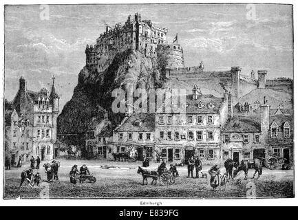 Edinburgh castle rock circa 1885 - Stock Image