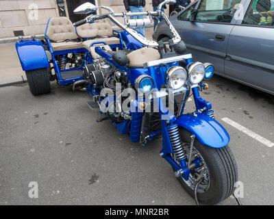 A Custom  built motor trike powered by a six cylinder Jaguar engine - Stock Image