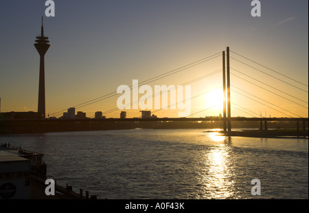 Rheinknie Suspension Bridge and  Media Port Rhinetower River Rhine Dusseldorf Germany - Stock Image