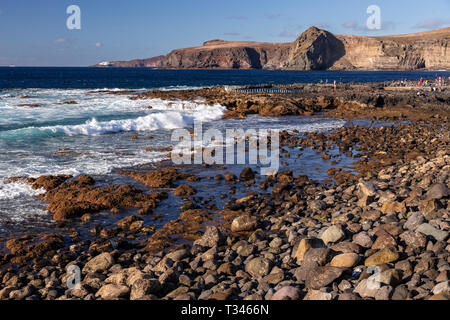 Shoreline at Puerto de las Nieves on the Atlantic coast of Gran Canaria, Canary islands - Stock Image