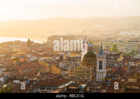 France, Provence-Alpes-Cote d'Azur, French Riviera, Alpes-Maritimes, Nice. Cityscape at sunset. - Stock Image