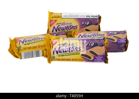 Packages of Fig Newtons on a White Background - Stock Image