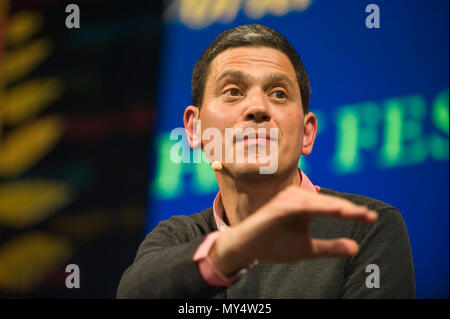 David Miliband speaking on stage at Hay Festival 2018 Hay-on-Wye Powys Wales UK - Stock Image