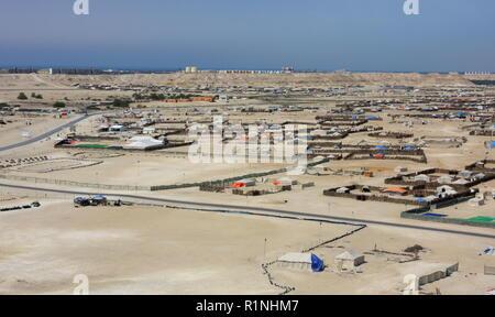 Desert during the annual winter camping season, Kingdom of Bahrain - Stock Image