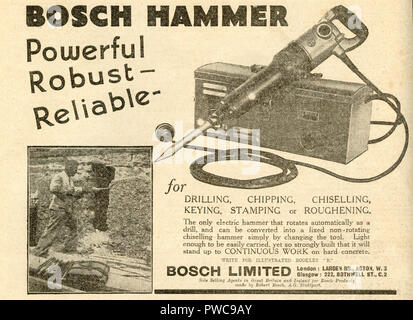 Vintage advertisement for Bosch power hammer tools dated January 17th 1936 in the Illustrated Carpenter and Builder magazine - Stock Image