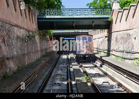 Funicular in Castle Hill Budapest Hungary - Stock Image