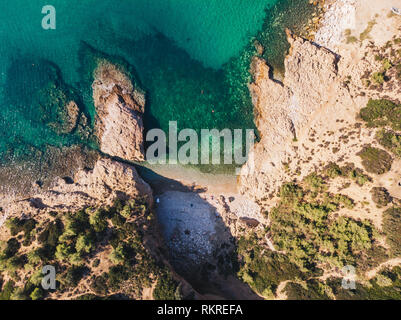 Crystal clear waters of Thasos Island, Greece - Stock Image