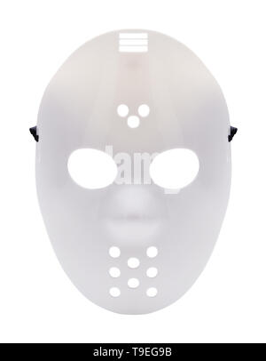 Halloween Costume Hockey Mask Cut Out On White. - Stock Image